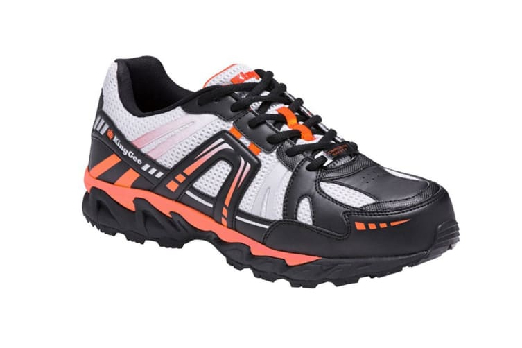 King Gee Men's Comp-Tec G11 Sport Safety Shoe (Black/Orange, Size 6)
