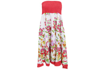 Womens/Ladies Floral Bandeau Midi 2 In 1 Summer Dress (Red)