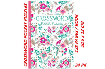 24 x Pocket Crossword Puzzle Books Solve Convenient Fun Game (128 Pages/Book)