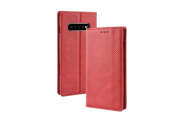 For Samsung Galaxy S10 PLUS Case Retro Texture PU Leather Folio Wallet Cover Red