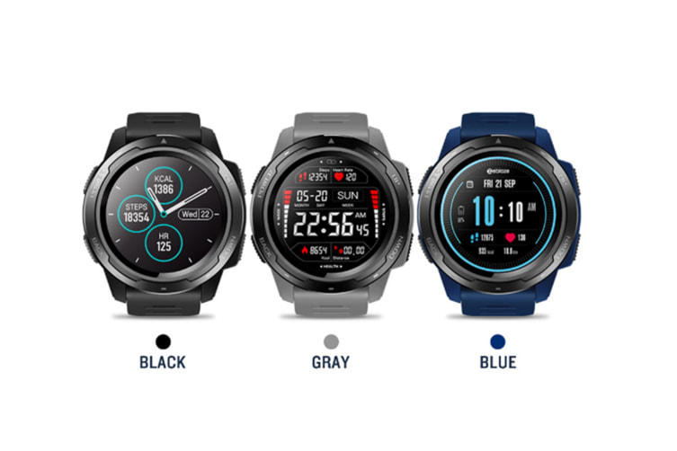 Select Mall Heart Rate Monitor 1.3inch IPS Full-round Color Display Target Setting Multi-sport Modes Sport Smart Watch-Blue