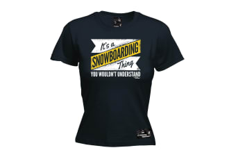 Powder Monkeez Snowboarding Tee - Board Its A Thing - (X-Large Black Womens T Shirt)