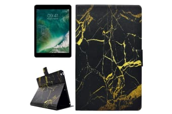 For iPad 2018 2017 Case Elegant Marble Pattern Durable Leather Cover BlackGold