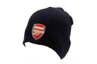 Arsenal FC Adults Unisex Knitted Hat (Black) (One Size)