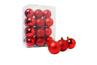 Christmas Shop Assorted Shatterproof 60mm Christmas Tree Bauble Set (24 Pack) (Red)