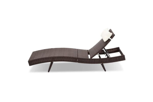 Set of 2 Outdoor Sun Lounge (Brown)
