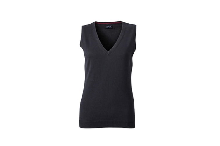James and Nicholson Womens/Ladies V-Neck Sweater Vest (Black) (XS)