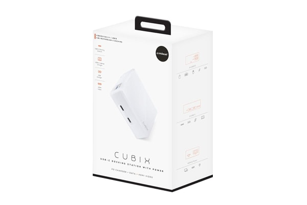 mBeat Cubix portable USB-C Docking Station with Built-in Power (White)