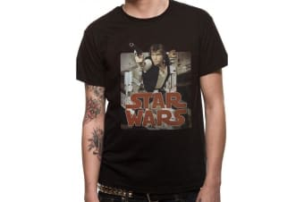 Star Wars Adults Unisex Adults Han Retro Badge Design T-Shirt (Black) (S)