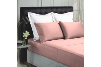 Royal Comfort 1000TC Hotel Grade Bamboo Cotton Sheets Pillowcases Set Ultrasoft - Queen - Blush