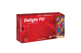 Aurelia Delight PD Clear Powdered Vinyl Gloves (Pack of 100) (Clear)