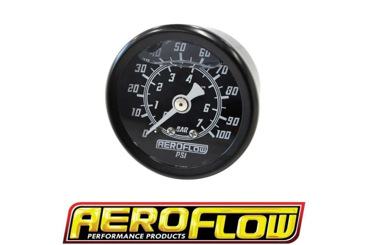 "Aeroflow 1-1/2"" 0-100 Psi Liq Fil Gauge Black Face White Pointer"