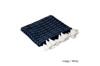 Ashton Cotton Throw Indigo White by J Elliot Home
