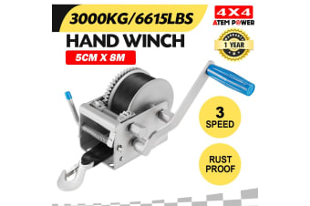 ATEM POWER Hand Winch 3000KG/6615LBS 3 Speed Dyneema Webbing Strap Boat Car Marine 4WD 8M
