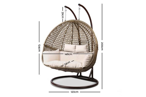 Gardeon Outdoor Double Hanging Swing Chair Brown Kogan Com