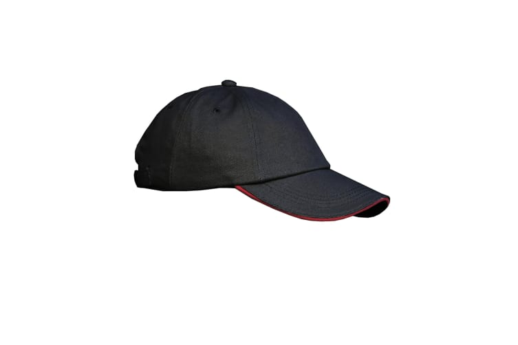 Result Unisex Low Profile Heavy Brushed Cotton Baseball Cap With Sandwich Peak (Pack of 2) (Black/Red) (One Size)