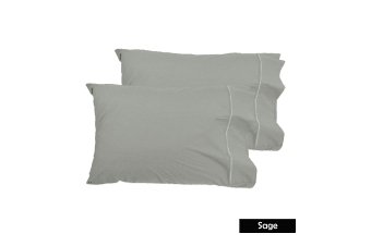 Pair of Queen Sized Pillowcases - Sage by Grand Aterlier