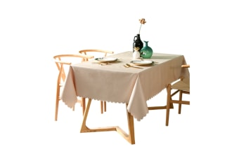 Pvc Waterproof Tablecloth Oil Proof And Wash Free Rectangular Table Cloth Beige 140*220Cm