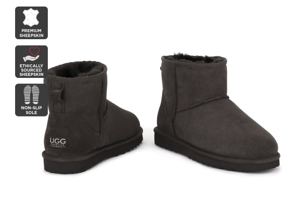 Outback Ugg Boots Mini Classic - Premium Sheepskin (Chocolate, 13M / 14W US)