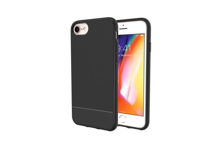For iPhone 8 7 6 & 6S Case  Black Snap Armor Shock Proof Light Slim Phone Cover