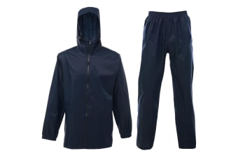 Regatta Classics Mens 2 Piece Waterproof Rainsuit (Navy) (2XL)