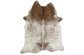 Exquisite Natural Cow Hide Salt & Pepper Brown 170x180cm