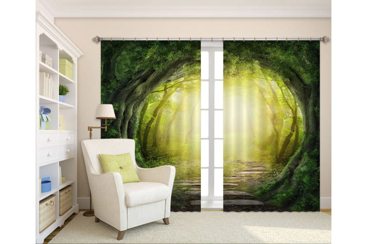 3D Forest Path 2234 Curtains Drapes, 360cmx270cm(WxH) 141''x 106''
