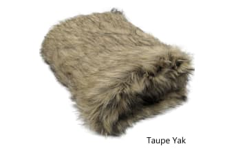 Luxury Long Hair Faux Fur Animal Throw Taupe Yak by Artex