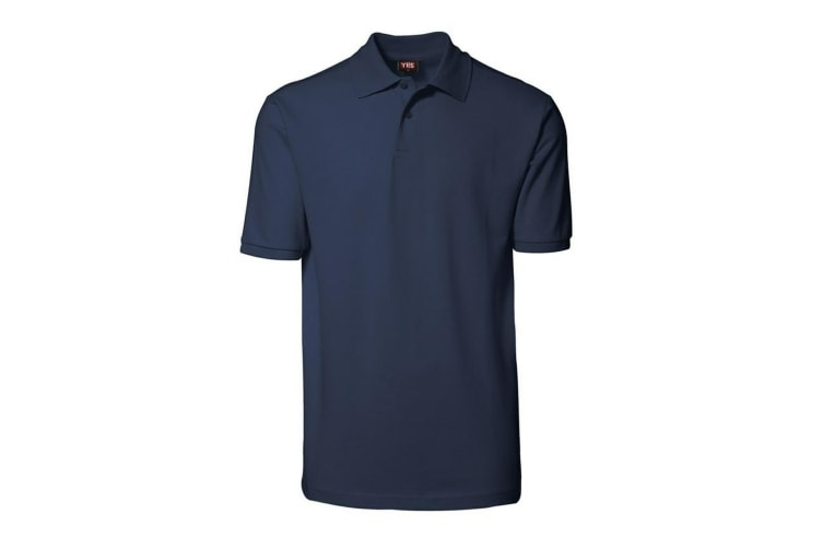 ID Unisex Yes Short Sleeve Regular Fitting Plain Cotton Polo Shirt (Navy) (2XL)
