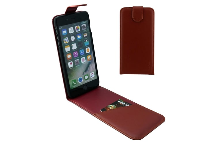 For iPhone 8 PLUS 7 PLUS Case iCoverLover Vertical Flip Leather Reddish Brown