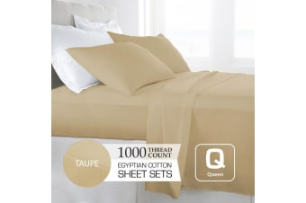 Queen Size Taupe 1000TC Egyptian Cotton Sheet Set