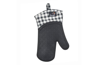 Zeal Gingham Steam Stop Silicone Oven Glove Charcoal Grey