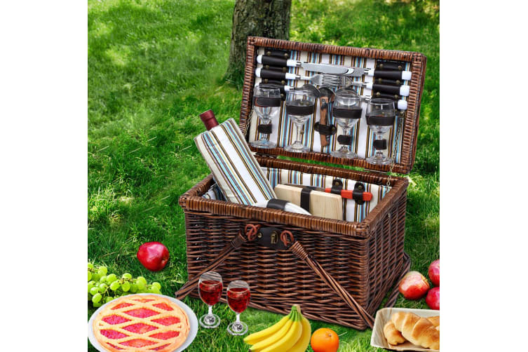 Deluxe 4 Person Picnic Basket Set Folding Insulated Liquor bag
