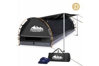 Double Camping Canvas Swag with Mattress and Air Pillow (Grey)