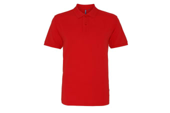 Asquith & Fox Mens Plain Short Sleeve Polo Shirt (Washed Red) (XL)