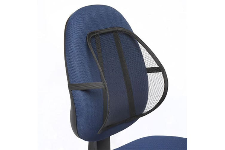 3PK Kensington Mesh Back/Spine/Lumbar/Rest/Support for Office Chair/Car Black