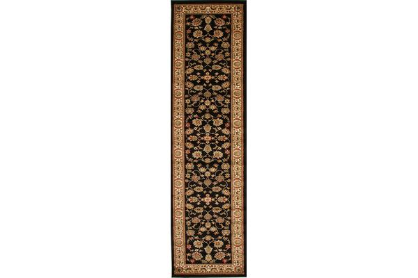 Traditional Floral Pattern Runner Black 400x80cm