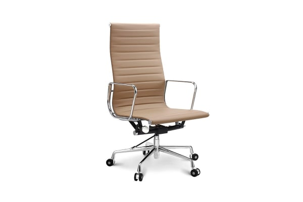 Ovela Executive Eames Replica High Back Ribbed Office Chair (Light Brown)