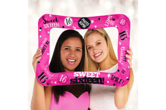 Anagram 23 Inch Sweet 16 Inflatable Photo Frame Foil Balloon (Multicoloured) (One Size)