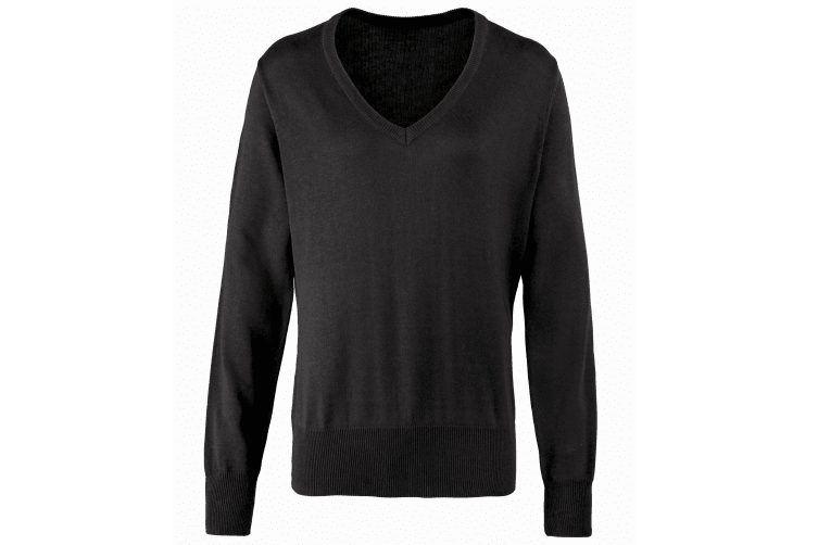Premier Womens/Ladies V-Neck Knitted Sweater / Top (Black) (24)