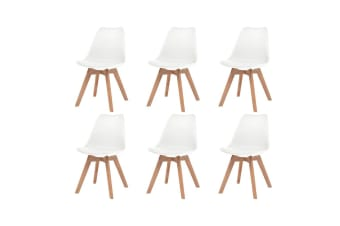 vidaXL Dining Chairs 6 pcs Artificial Leather Solid Wood White