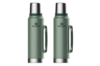 2PK Stanley Classic Vacuum Insulated Double 1L Drink Bottle Stainless Steel GRN