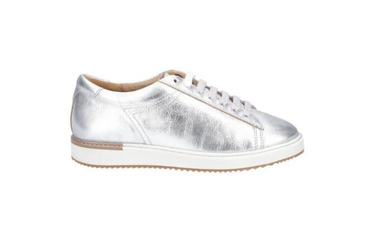 Hush Puppies Womens/Ladies Sabine BouncePLUS Leather Lace Up Trainer (Silver Metallic Leather) (5 UK)