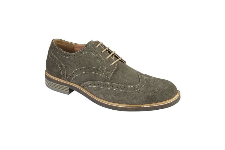 Roamers Mens Suede Leather 4 Eye Brogue Laced Shoe (Grey) (9 UK)
