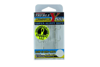 6 Pack of Size 2 Decoy Y-S81 Super Heavy Duty Silver Treble Fishing Hooks-Japanese Made
