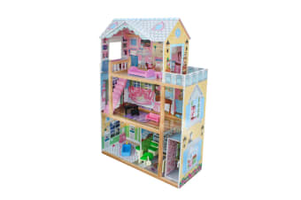 Wooden Doll House + 12pc Furniture