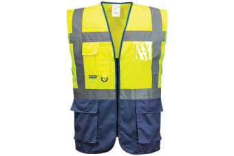Portwest Hi Vis Executive / Manager Vest / Safetywear (Yellow/ Navy)