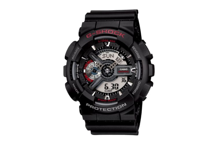 Casio G-Shock Analog Digital Watch with Resin Band - Black/Red (CAS-GA110-1A)