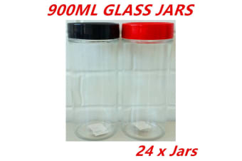 24 x 900ML Screw Top Glass Storage Jar Jars Plastic Window Lid Cookie Kitchen DD