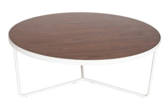 Luna Round Coffee Table | Matte White & Walnut